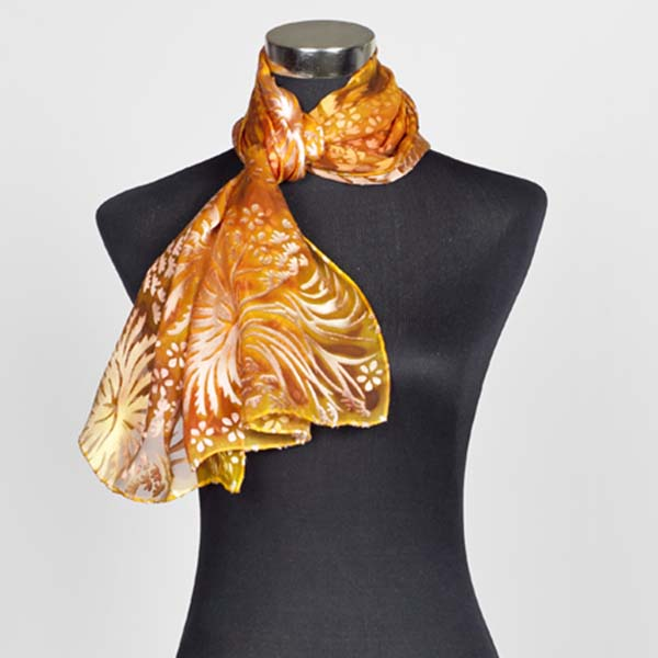 Amber M Hand Painted Silk Scarf by Marlyse Carroll