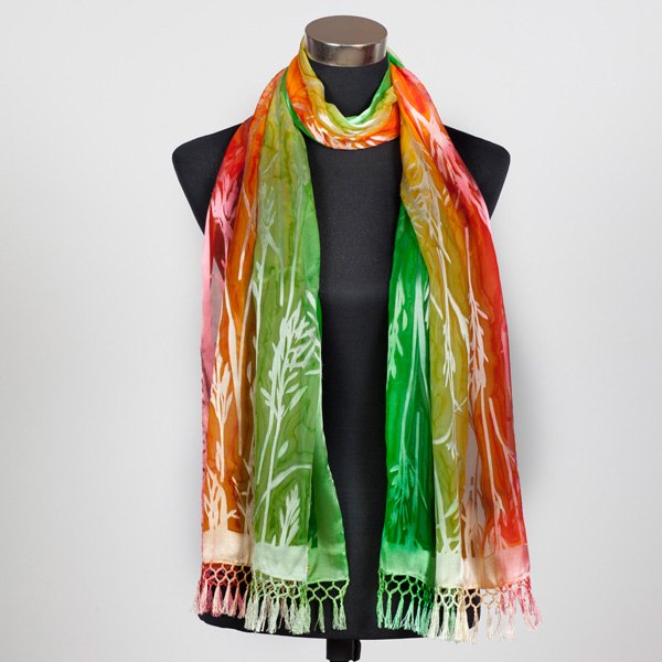Citrus Delight XL Hand Painted Silk Scarf by Marlyse Carroll