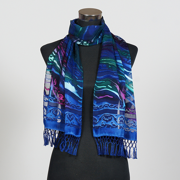 Deep Sea MF Hand Painted Silk Scarf by Marlyse Carroll