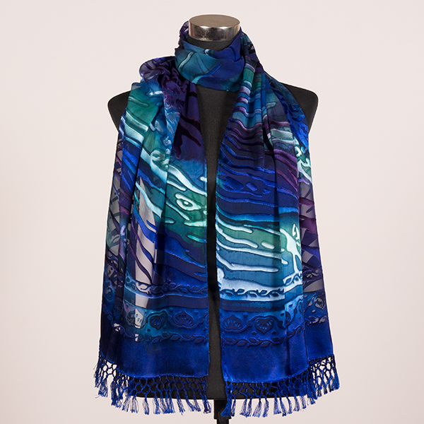 Deep Sea XL Hand Painted Silk Scarf by Marlyse Carroll