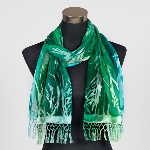Emerald MF Hand Painted Silk Scarf by Marlyse Carroll
