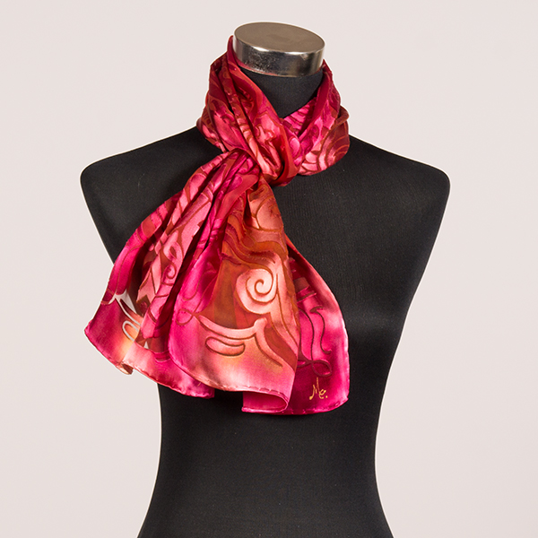 Flamingo M Hand Painted Silk Scarf by Marlyse Carroll