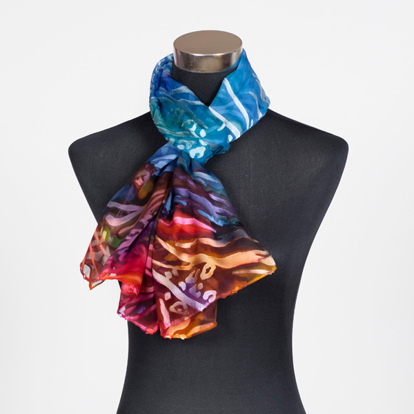 Great Barrier Reef M Hand Painted Silk Scarf by Marlyse Carroll