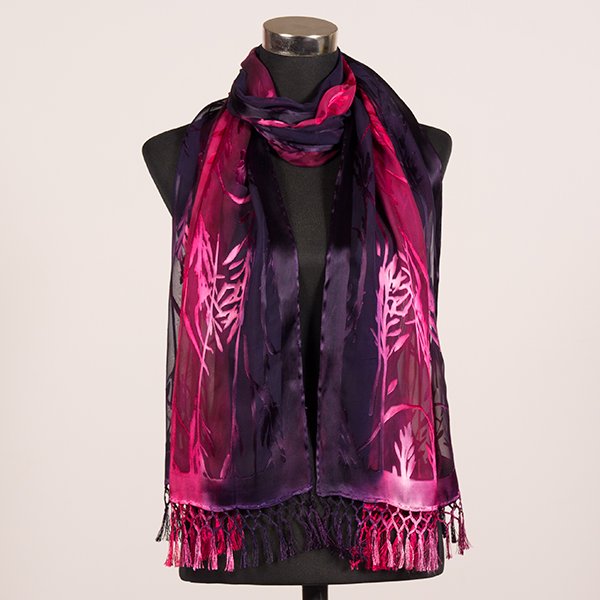 Heart and Soul Fuchsia XL Hand Painted Silk Scarf by Marlyse Carroll