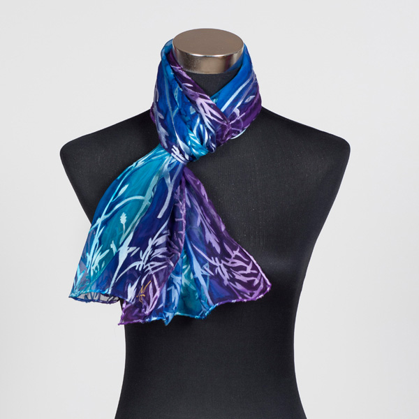 Heart Soul Blue M Hand Painted Silk Scarf by Marlyse Carroll