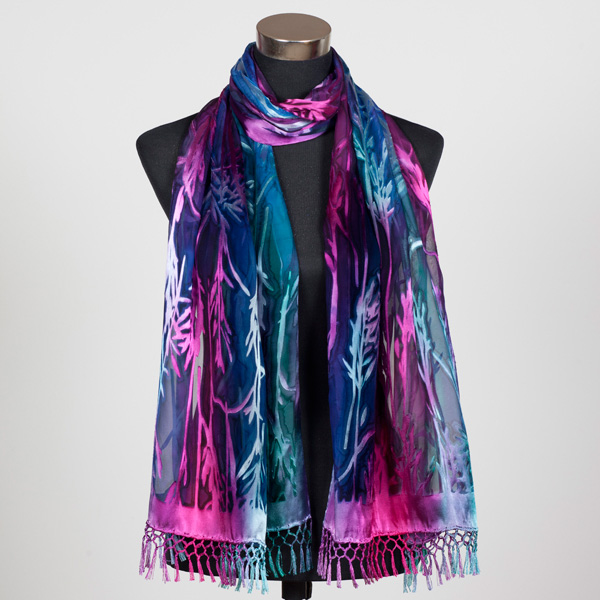 Magic Forest XL Hand Painted Silk Scarf by Marlyse Carroll