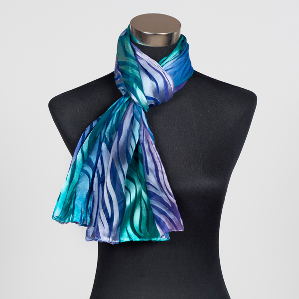 Mermaids Tail Hand Painted Silk Scarf by Marlyse Carroll