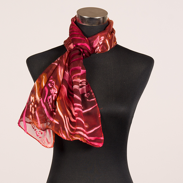 Orange Sapphire M Hand Painted Silk Scarf by Marlyse Carroll