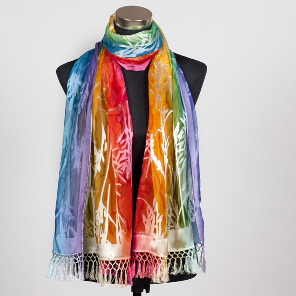 Rainbow XL Hand Painted Silk Scarf by Marlyse Carroll