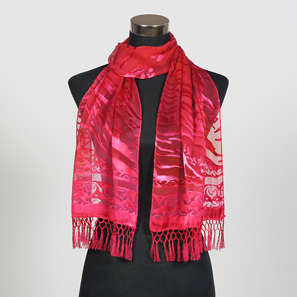 Ruby MF Hand Painted Silk Scarf by Marlyse Carroll