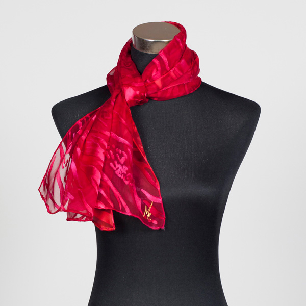 Ruby M Hand Painted Silk Scarf by Marlyse Carroll