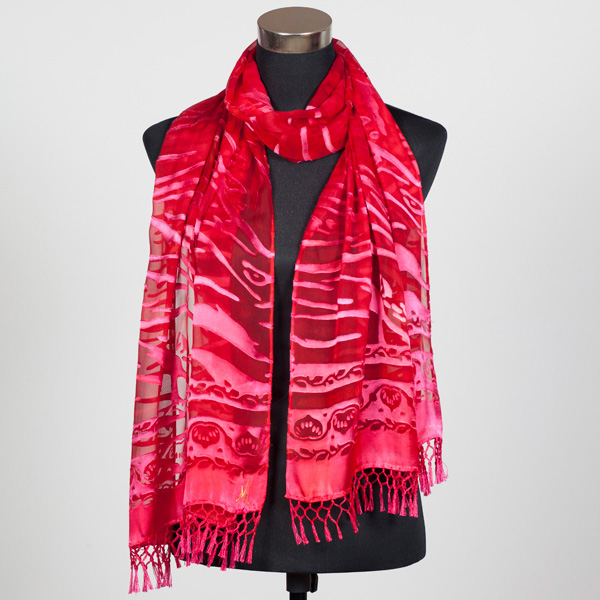Ruby XL Hand Painted Silk Scarf by Marlyse Carroll