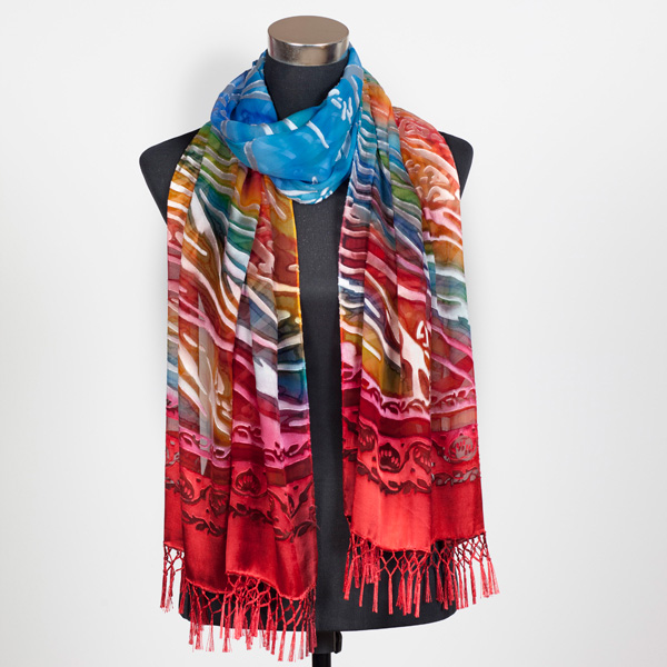 Sunset on the Desert Hand Painted Silk Scarf by Marlyse Carroll