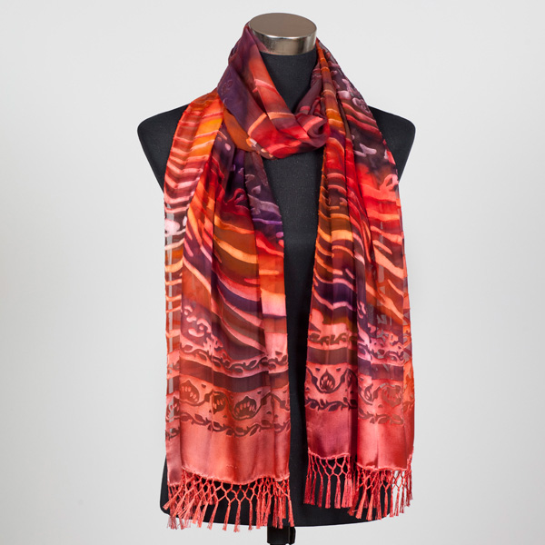 The Red Centre Hand Painted Silk Scarf by Marlyse Carroll