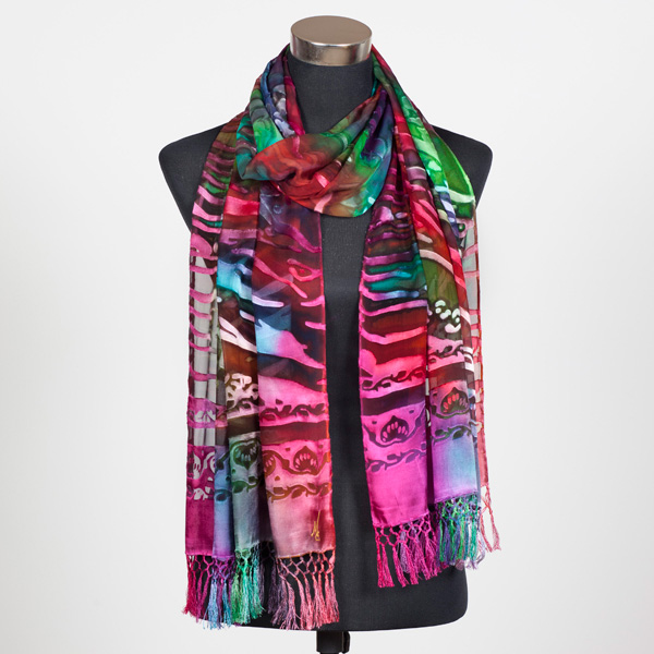 Tropical Reef XL Hand Painted Silk Scarf by Marlyse Carroll