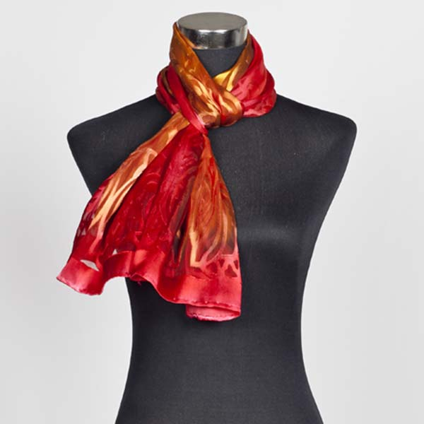 Warm Arabesque M Hand Painted Silk Scarf by Marlyse Carroll