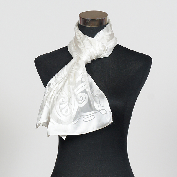 White M Hand Painted Silk Scarf by Marlyse Carroll