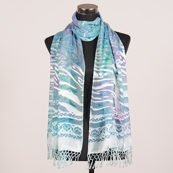 White Opal XL Hand Painted Silk Scarf by Marlyse Carroll