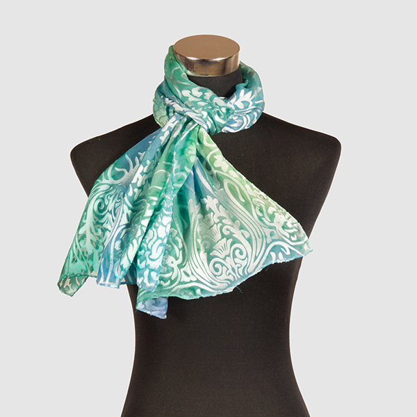 Aqua Aura M. Hand Painted Silk Scarf by Marlyse Carroll