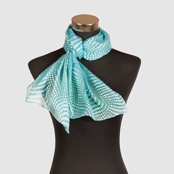 Aquamarine M. Hand Painted Silk Scarf by Marlyse Carroll