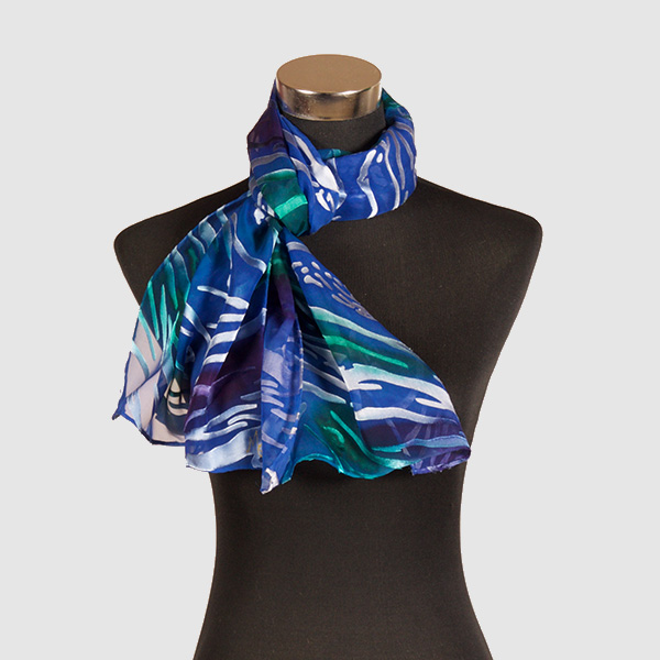Deep Sea M. Hand Painted Silk Scarf by Marlyse Carroll