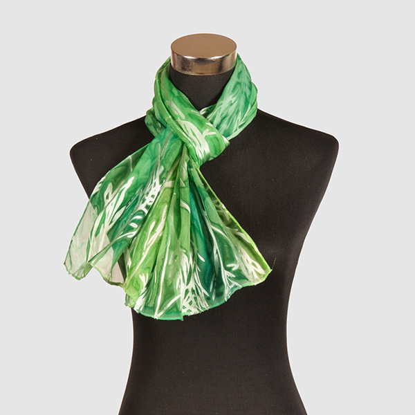 Emerald M. Hand Painted Silk Scarf by Marlyse Carroll