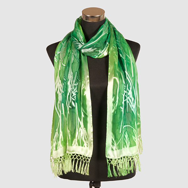 Emerald XL. Hand Painted Silk Scarf by Marlyse Carroll