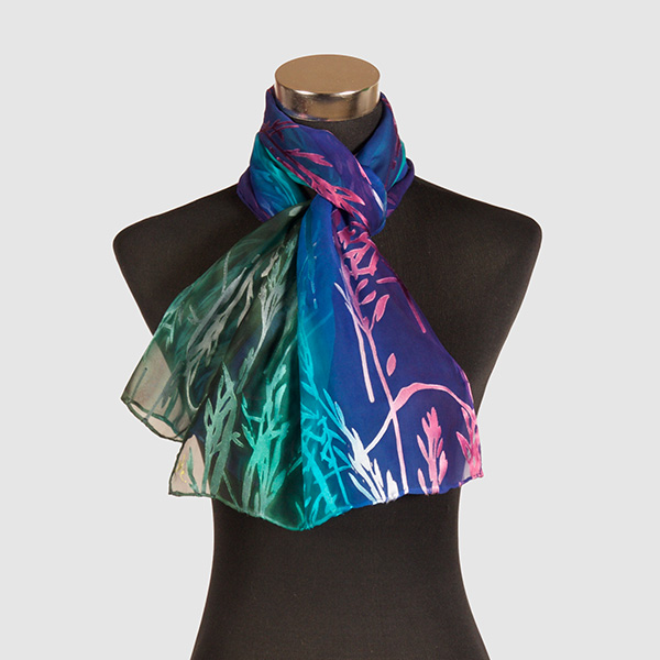 Pathways to the heart M. Hand Painted Silk Scarf by Marlyse Carroll